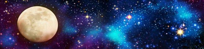 Księżyc w pełni i gwiazdy niebo Obrazy Stock