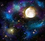 Księżyc w pełni i gwiazdy niebo Obraz Stock