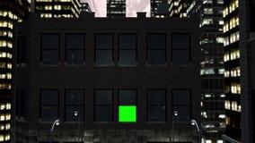 Księżyc w pełni i miasto nocą z zieleń ekranem royalty ilustracja