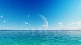 Księżyc w pełni nad błękitnym niebem i morzem Fotografia Stock