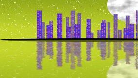Księżyc W Pełni noc, pejzaż miejski ilustracja z oświetleniowymi budynkami na wyspie, drapacze chmur shinning w ciemność ilustracji