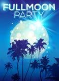 Księżyc w pełni partyjny plakatowy szablon z ciemnymi palmami royalty ilustracja