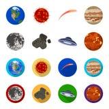 Księżyc, Wenus planeta układ słoneczny Zero, meteoryt Planety ustawiać inkasowe ikony w kreskówce, mieszkanie styl royalty ilustracja