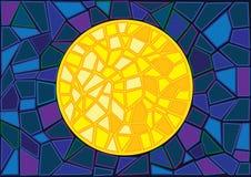 Księżyc witrażu plamy tło ilustracja wektor