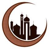 Księżyc z arabskimi świątyniami kareem Ramadan royalty ilustracja
