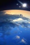 Księżyc ziemia i gwiazdy Zdjęcie Royalty Free