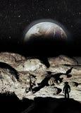 Księżycowa baza i Earthrise ilustracja wektor
