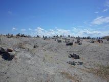 Księżycowy krajobraz Los Hoyos Popielata pustynia, część Kolumbia ` s Tatacoa pustynia Teren jest antycznym wysuszonym wystrzałem zdjęcia royalty free