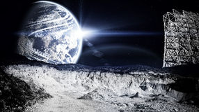 Księżycowy krajobraz z radarem obraz stock