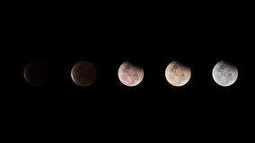 Księżycowy zaćmienie księżyc z ciemności niebem w Tajlandia 2015 Obrazy Stock