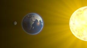 Księżycowy zaćmienie, przestrzeni księżyc ziemski słońce ilustracji