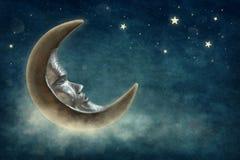 księżycu, gwiazdach Fotografia Royalty Free