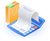 Księgowego kalkulator, papierowa rachunek zapłata, torba na zakupy Zdjęcie Stock