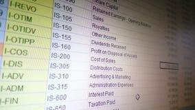 Księgowość dane - przetwarzający wewnątrz przoduje spreadsheet, finanse raport zbiory wideo