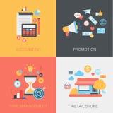 Księgowość, promocja, czasu zarządzanie, sklep sieci płascy szablony royalty ilustracja