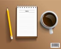 księgowości biznesowy pojęcia biurka biuro Kawowa i pusta notatka ilustracji