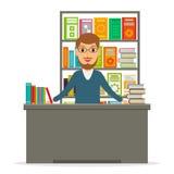 Księgarz lub bibliotekarka przy kontuarem Zdjęcie Stock