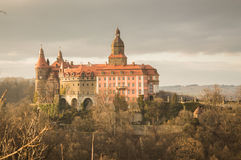 Ksiaz Castle on the hill before sunset Royalty Free Stock Photo