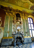 Ksiaz Castle Poland - fireplace room. Ksiaz Castle, Poland. A decorative room with impressive fireplace royalty free stock images