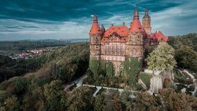Castle in Ksiaz near Walbrzych drone aerial view royalty free stock image