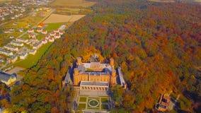 KSIAZ, POLSKA - 2019: Widok z lotu ptaka Grodowy Ksiaz blisko Wałbrzyskiego, jeden duzi budynki swój rodzaj w ten części Europa fotografia royalty free