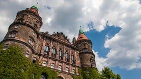 Ksiaz slott i Polen Arkivbilder