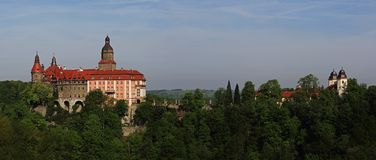 Ksiaz slott nära Walbrzych, Polen Arkivbilder