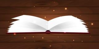 Książkowy plakat Otwiera książkę z tajemniczym jaskrawym światłem na drewnianym tle również zwrócić corel ilustracji wektora Obrazy Royalty Free