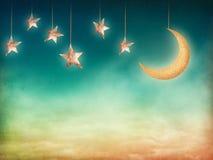 Księżyc i gwiazdy Fotografia Stock