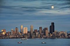 Księżyc nad Seattle Obraz Royalty Free