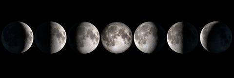 Księżyc przeprowadza etapami kolaż Zdjęcia Stock