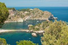 Küstenlinie Taormina, Sizilien, Italien Stockfotografie
