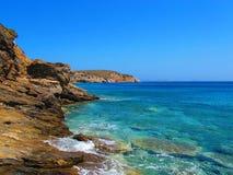 Küstenlinie von Naxos, griechische Inseln Stockbild