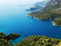 Küstenlinielandschaft des Mittelmeertruthahns Stockfoto