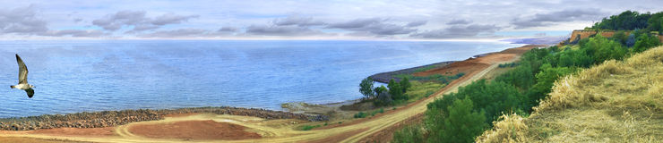 Küstepanorama Stockbilder