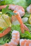 Köstlicher Salat der frischen Garnelen Stockfotos