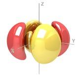 Kształt 6Dxy M-1 atomowy oczodołowy na białym tle Availa ilustracji