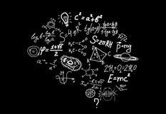 Kształt ludzki mózg scienctific symbole, formuły i równania dalej, ilustracji