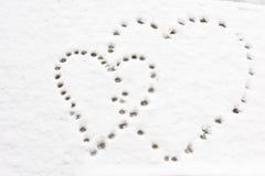 Kształt serca na śniegu Obrazy Royalty Free