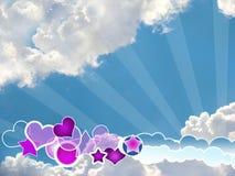 kształta błękitny jaskrawy różny ciekawy niebo royalty ilustracja