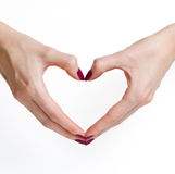 Kształtne serce ręki Fotografia Royalty Free