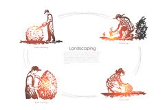 Kształtować teren gazon kośbę, rozsady, gazonu bat, krzaka pojęcia tnący wektorowy set ilustracji