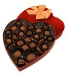 kształtujący pudełkowaty czekoladowy serce Zdjęcie Royalty Free