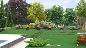 Kształtujący teren kraju stylu dekoracyjnych ule, 3D odpłacają się Zdjęcie Royalty Free