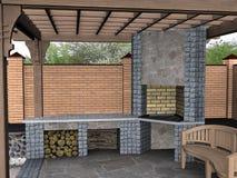 Kształtujący teren pergolę wśrodku widoku, 3D odpłacają się Obraz Royalty Free