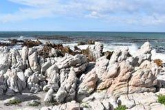 Kształtuje teren i wyrzucać na brzeg w bettyzatoce z ślicznymi Jackass pingwinami blisko Kapsztad, Południowa Afryka Fotografia Stock