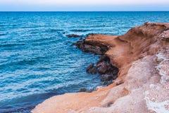 Kształtuje teren strzał Mil Palmeras seashore w wieczór, Hiszpania zdjęcie royalty free