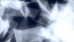 Kształty, kropkują i linie z połyskiem na zamazanym przodzie connectied animacja Zbliżać skład 4K royalty ilustracja