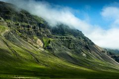 Kształtuje teren z koniami Iceland fotografia stock