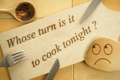 Który kulinarny dzisiaj wieczór? Fotografia Stock